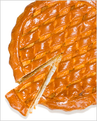 Open pie with dried apricots