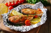 Pink salmon in foil, baked in the oven